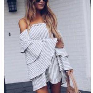 Vici bell sleeve striped dress off the shoulder